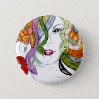 Medusa snake hair badge 2 inch round button