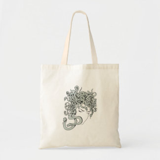 medusa snake lady vector illustration tote bag