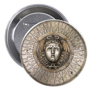Medusa's shield 3 inch round button
