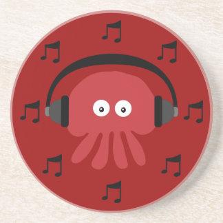 Méduses rouges du DJ, écouteurs et notes musicales Dessous De Verre