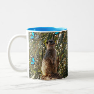Meerkat And Blue Butterflies, Two-Tone Coffee Mug