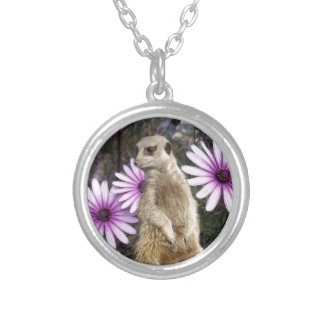 Meerkat_And_Daisies,_Pendant_Necklace. Silver Plated Necklace