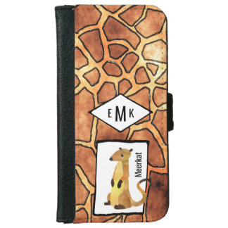 Meerkat and Exotic Giraffe Pattern with Monogram iPhone 6 Wallet Case