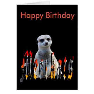 Meerkat And Logo, Black Happy Birthday Card