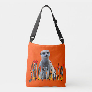 Meerkat And Logo On Hot Orange, Crossbody Bag
