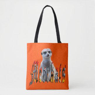 Meerkat And Logo On Hot Orange, Tote Bag