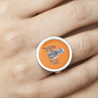 Meerkat And Logo, Silver Round Ring. Ring