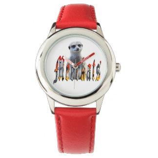 Meerkat And Meerkat Logo Kids Red Leather Watch. Watch