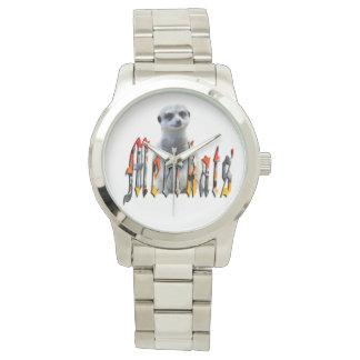 Meerkat And Meerkat Logo Large Silver Unisex Watch