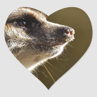 Meerkat Animal Nature Zoo Tiergarten Small Fur Heart Sticker