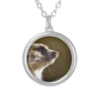 Meerkat Animal Nature Zoo Tiergarten Small Fur Silver Plated Necklace