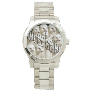 Meerkat Army Logo, Large Unisex Silver Watch