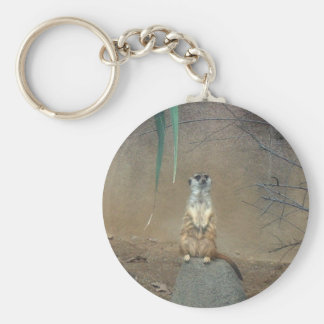 Meerkat Basic Round Button Keychain