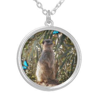 Meerkat,_Blue_Butterflies,_Round_Pendant_Necklace Silver Plated Necklace