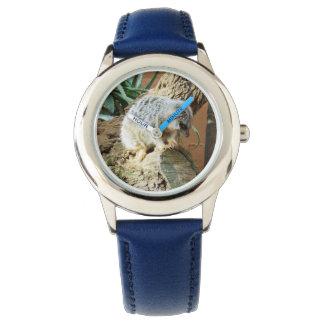 Meerkat Cat Naps, Kids Blue Leather Watch. Watch
