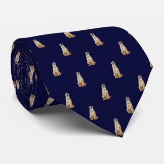 Meerkat Diamond Pattern on Dark Navy Blue Tie