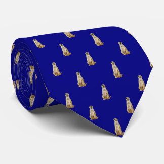 Meerkat Diamond Pattern on Navy Blue Tie
