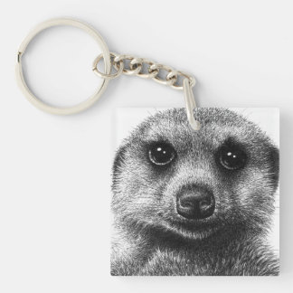 Meerkat Double-Sided Square Acrylic Keychain