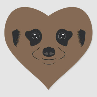 Meerkat face silhouette heart sticker