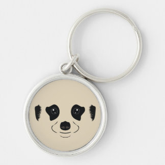 Meerkat face silhouette Silver-Colored round keychain