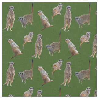 Meerkat Frenzy Fabric (Dark Green)