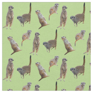 Meerkat Frenzy Fabric (Light Green)
