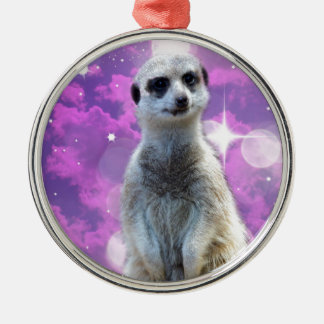 Meerkat Glitter Ball,_ Silver-Colored Round Ornament