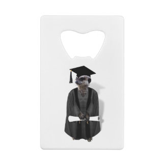 Meerkat Graduate W/Grey Gown & Black Sash Wallet Bottle Opener