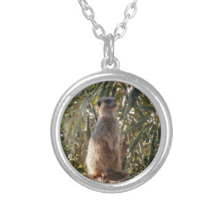 Meerkat_Guard,_Round_Pendant_Necklace Silver Plated Necklace