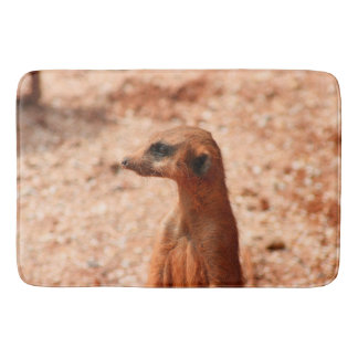 meerkat head close up zoo animal image bath mat