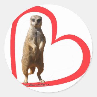 Meerkat Heart Classic Round Sticker