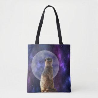 Meerkat_In_Moonlight,_Full_Print_Shopping_Bag Tote Bag
