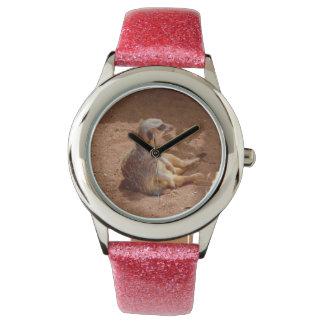 Meerkat Lazy Days, Girls Pink Glitter Watch. Watch