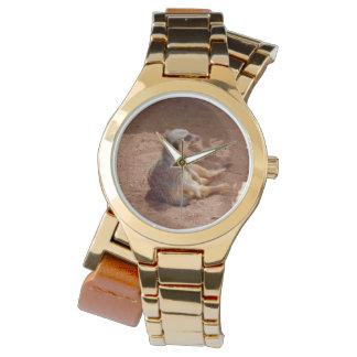Meerkat Lazy Days, Ladies Gold Wrap Watch. Watch