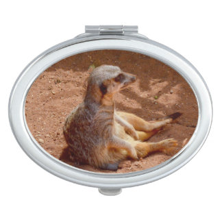 Meerkat Lazy Days, Ladies Oval Compact Mirror. Compact Mirrors
