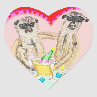 Meerkat Love Heart Sticker