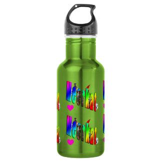 Meerkat Love Logo, Green Aluminum Water Bottle. 532 Ml Water Bottle