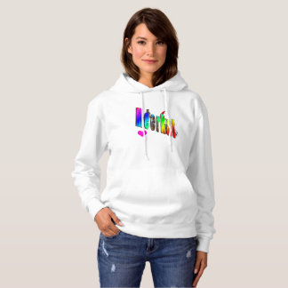 Meerkat Love Logo, Ladies White Hoodie