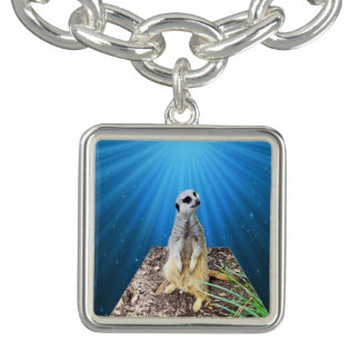 Meerkat On A Blue Starry Background,Charm Bracelet