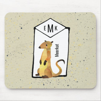 Meerkat on Beige Background with Monogram Mouse Pad