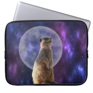 Meerkat On Blue Full Moon Night, Laptop Sleeve