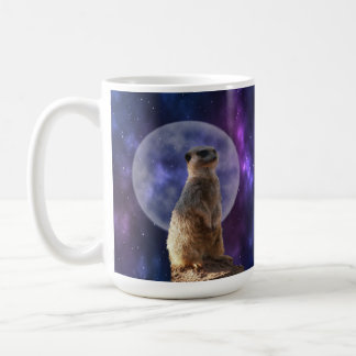 Meerkat On Blue Moonlight Night Watch, Coffee Mug