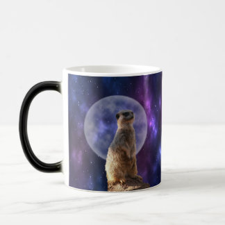 Meerkat On Blue Moonlight Night Watch, Magic Mug