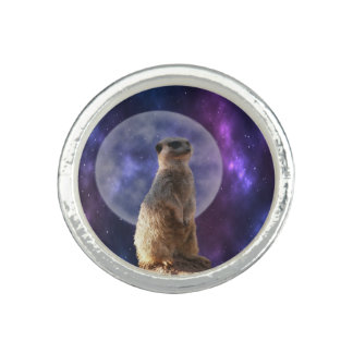 Meerkat On Blue Moonlight Night Watch, Rings