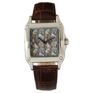 Meerkat Photo Collage,  Brown Leather Watch