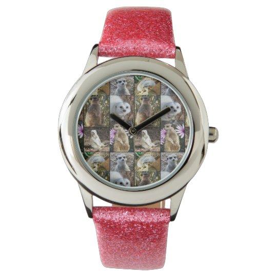 Meerkat Photo Collage, Girls Pink Glitter Watch. Watch