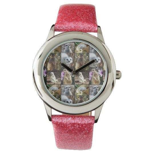 Meerkat Photo Collage, Girls Pink Glitter Watch. Wristwatch