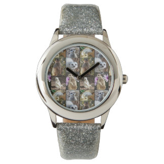 Meerkat Photo Collage, Girls Silver Glitter Watch. Watch