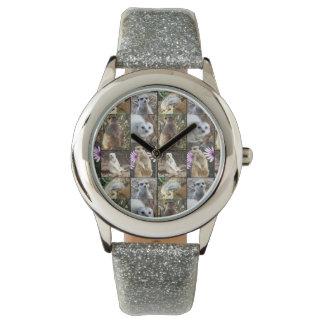 Meerkat Photo Collage, Girls Silver Glitter Watch. Wristwatch