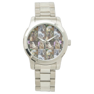 Meerkat Photo Collage,  Large Silver Unisex Watch
